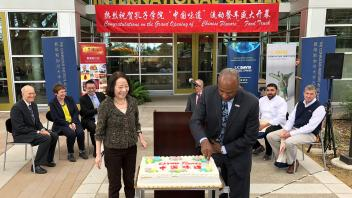 Cake Cutting at the Grand Opening of the Chinese Food Truck
